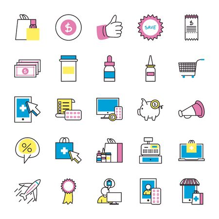 fill style icon set design of Shopping online medical care ecommerce market retail buy paying banking and consumerism theme Vector illustration Vettoriali