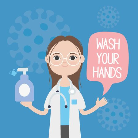 cartoon doctor woman showing the importance of handwashing over blue background, colorful design, vector illustration Illustration