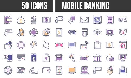 mobile banking icon set over white background, line color style, vector ilustration