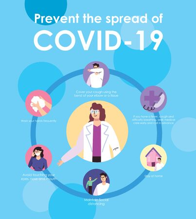 design of Prevention the spread of covid 19, people taking precautions of the coronavirus over blue background, colorful design, vector illustration