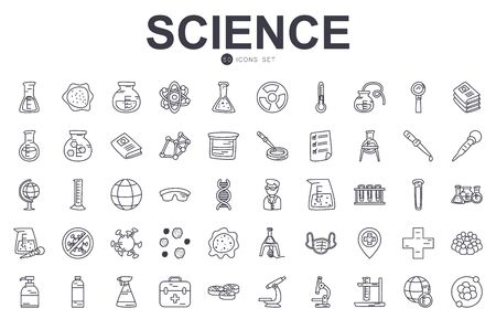 science icon set over white background, line style, vector illustration