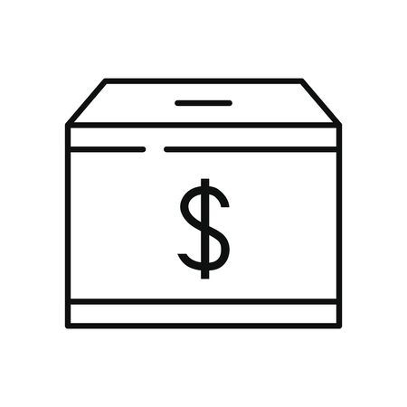 charity and donation concept, charity moneybox icon over white background, line style, vector illustration Vecteurs