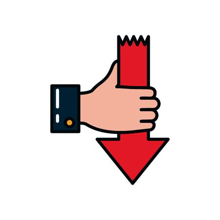 hand holding a arrow with down direction over white background, line and fill style, vector illustration