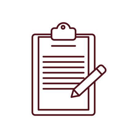 fast delivery concept, delivery report clipboard and pencil icon over white background, line style, vector illustration