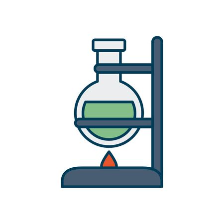 Laboratory burner and flask icon over white background, line and fill style, vector illustration