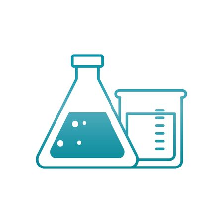 chemical flasks icon over white background, gradient style, vector illustration