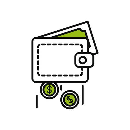 wallet with money falling icon over white background, half line half color style, vector illustration