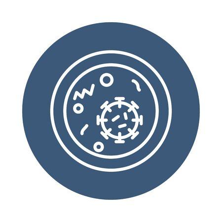 coronavirus and cell icon over white background, block style, vector illustration Illustration