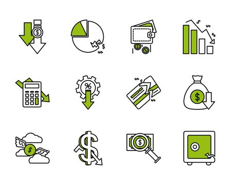 graphic charts and financial broke icon set over white background, half line half color style, vector illustration Illustration