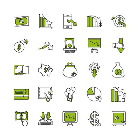 credit card and economic recession icon set over white background, half color half line style, vector illustration