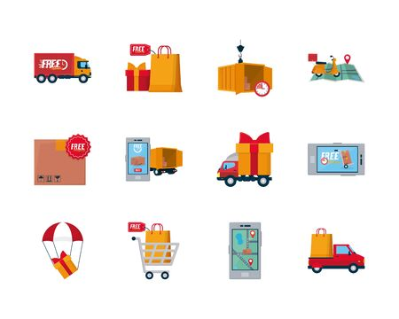 free and fast delivery icon set over white background, flat style, vector illustration Vektoros illusztráció