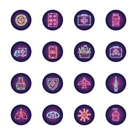 ambulances and covid 19 icon set over white background, neon style, vector illustration