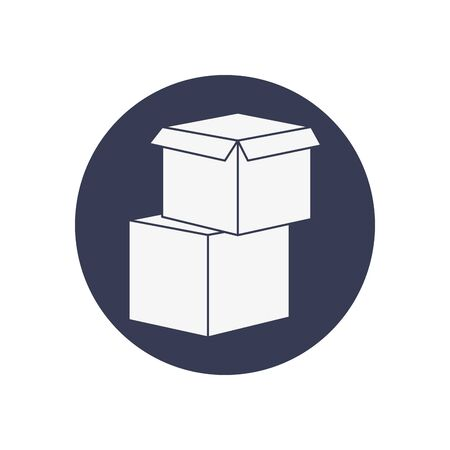 boxes icon over white background, block style, vector illustration