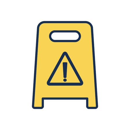 warning floor sign icon over white background, line fill style, cleaning elements concept, vector illustration