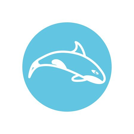 whale line block style icon design Sea life ecosystem fauna ocean underwater water nature marine tropical theme Vector illustration