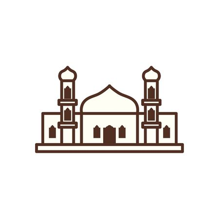 Ramadan mosque line style icon design, Islamic muslim religion culture belief religious faith god spiritual meditation and traditional theme Vector illustration
