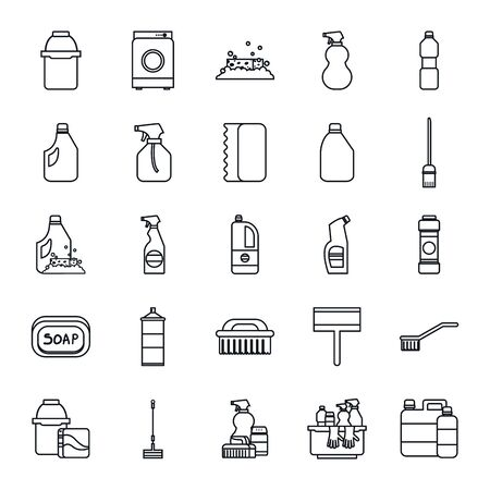 line style icon set design, Cleaning service wash home hygiene equipment domestic interior housework and housekeeping theme Vector illustration 向量圖像