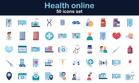 50 flat style icon set design of Health online medical care emergency aid exam clinic and patient theme Vector illustration Vetores