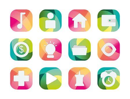 block flat style icon set design, Social media apps multimedia communication digital marketing internet web and connect theme Vector illustration