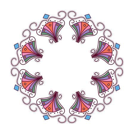 colored mandala leaves drops feathers circle design of Bohemic ornament indian decoration retro vintage meditation henna ethnic arabic texture and tribal theme Vector illustration