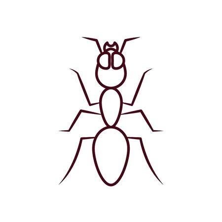 ant icon over white background, line style, vector illustration