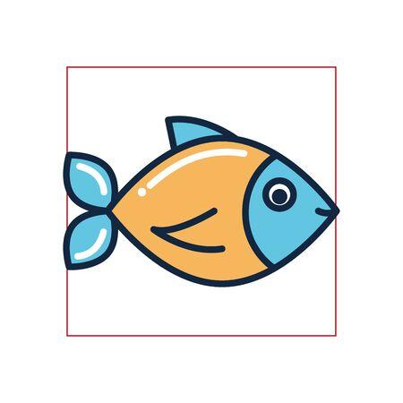 Fish fill style icon design Sea life ecosystem fauna ocean underwater water nature marine tropical theme Vector illustration