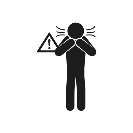 coronavirus and health concept, pictogram distraught man icon over white background, silhouette style, vector illustration  イラスト・ベクター素材