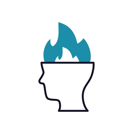 Mental health concept, head with fire flames icon over white background, half line half color style, vector illustration
