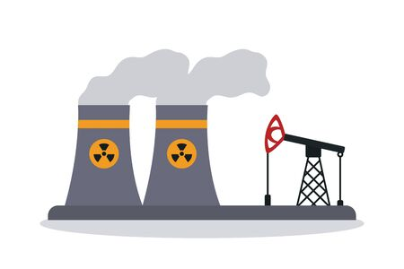 nuclear cooling towers and oil rig icon over white background, colorful design, vector illustration Vettoriali