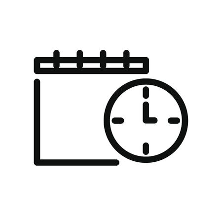 calendar and clock icon over white background, line style, vector illustration
