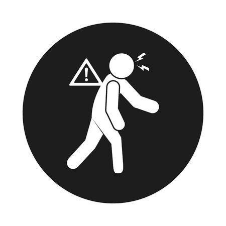 Covid 19 preventions concept, fatigue pictogram man icon over white background, block style, vector illustration
