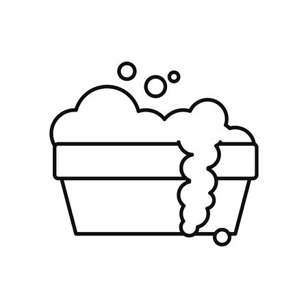 bucket with soapy water icon over white background, line style, vector illustration Vectores