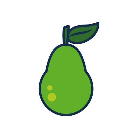 vegetables and fruits concept, pear icon over white background, line and fill style, vector illustration