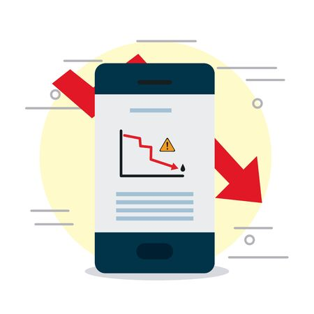 smartphone with financial report on screen over white background, colorful design, vector illustration