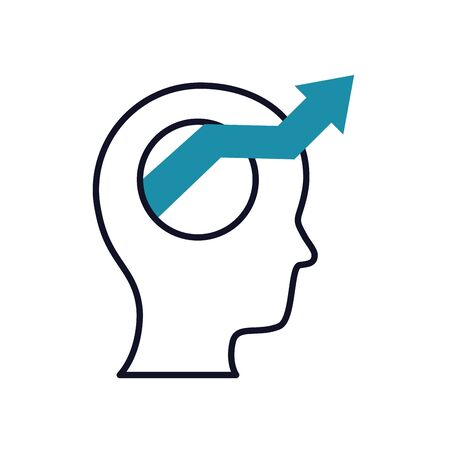 mental health concept, head with arrow out icon over white background, half line half color style, vector illustration