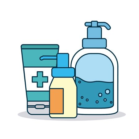 cleaning products bottles icon over white background, colorful design, vector illustration