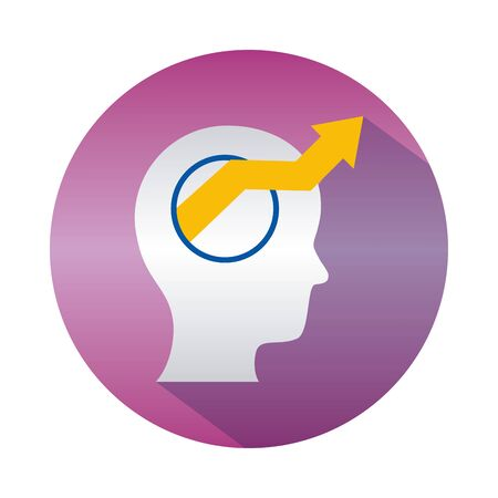 mental health concept, head with arrow out icon over white background, block gradient style, vector illustration