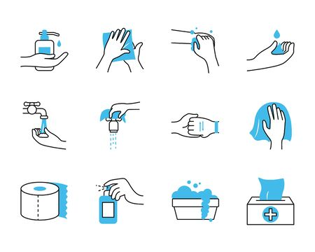 toilet paper and hand hygiene icon set over white bakground, half color half line style, vector illustration
