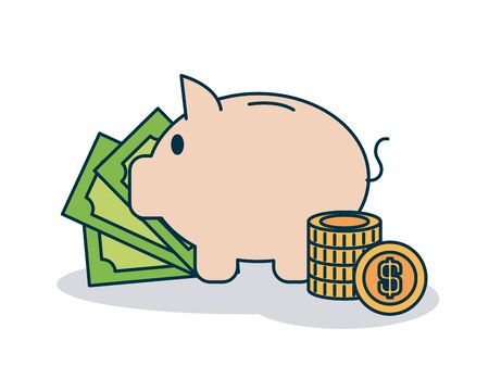 piggy bank and money bills and coins over white background, colorful design, vector illustration