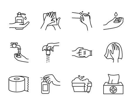 toilet paper and hand hygiene icon set over white bakground, line style, vector illustration Vektoros illusztráció