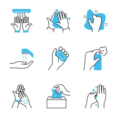 soap bar and hand hygiene icon set over white background, half color half line style, vector illustration