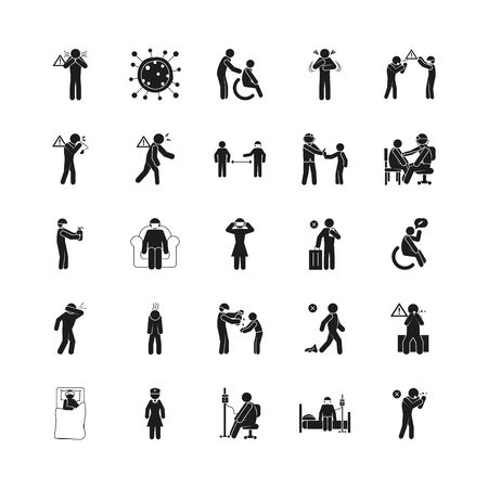 symptoms of Covid 19 and preventions icon set over white background, silhouette style, vector illustration