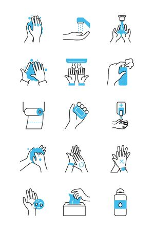 hands and hand hygiene icon set over white background, half color half line style, vector illustration