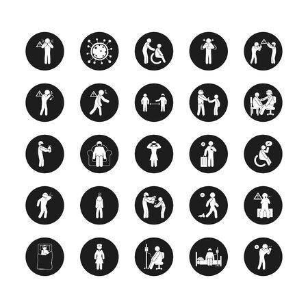 doctors and coronavirus and health icon set over white background, silhouette style, vector illustration