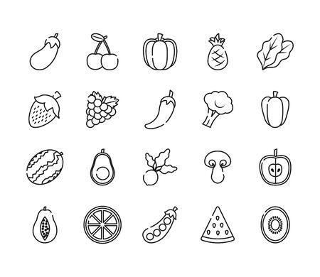 eggplant, fruits and vegetables icon set over white background, line style, vector illustration