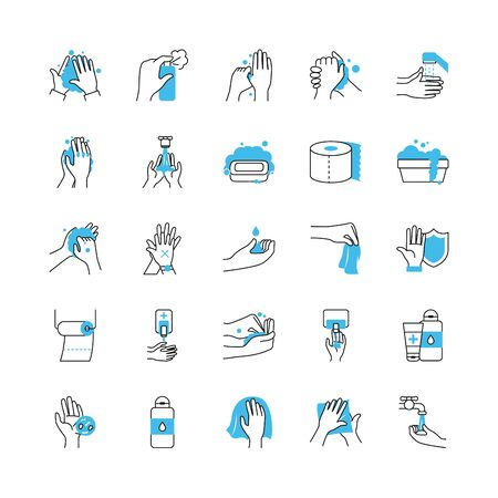 cleaning hands and hygiene icon set over white bakground, half color half line style, vector illustration