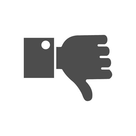 hand with thumb down icon over white background, silhouette style, vector illustration