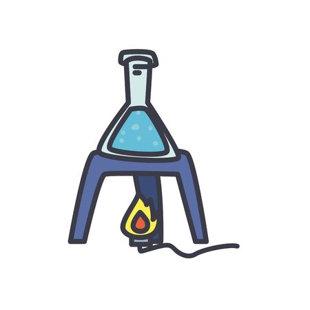 chemiscal burner with conical flask icon over white background, flat style, vector illustration Ilustrace