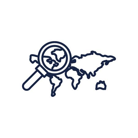 Map and lupe line style icon design, travel navigation route road location technology search street and direction theme Vector illustration