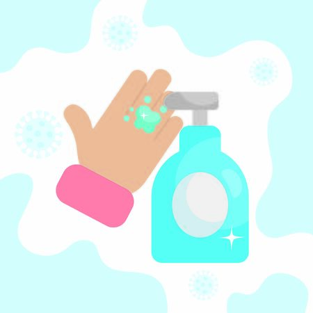 hand with antibacterial gel bottle icon over white background, colorful design, vector illustration